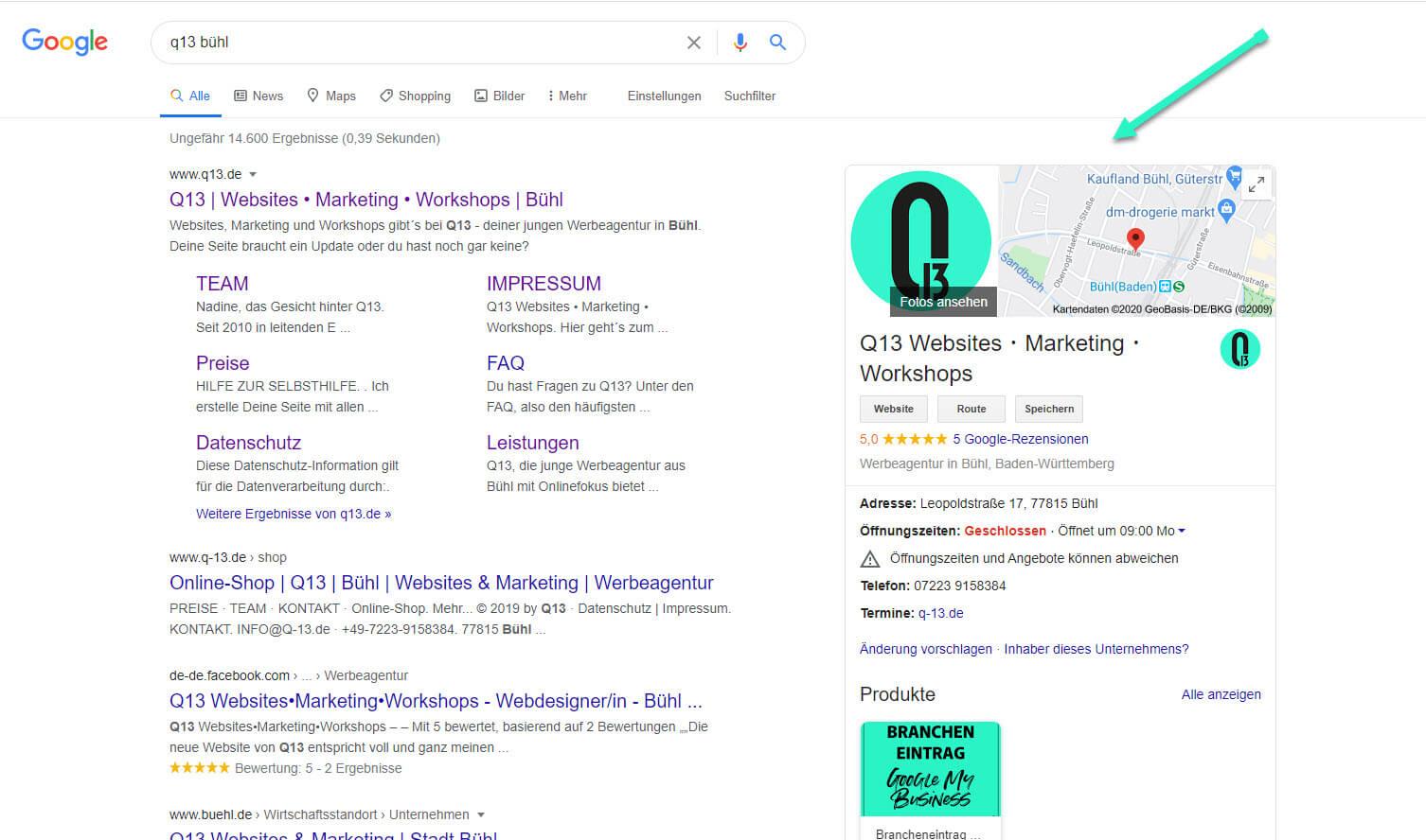 Google MyBusiness Beispiel Eintrag